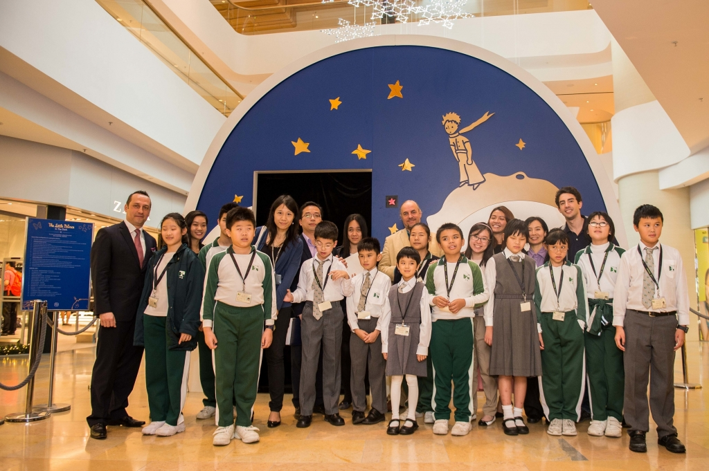 HANDOUT - Arnaud Nazare-Aga artist of the The Little Prince Exhibition of and Olivier d'Agay great-nephew of the Antoine de Saint-Exupery attends the Ebenezer School Student Tour at The Little Prince Exhibitions at the Pacific Place shopping mall on 2nd of December 2015 in Hong Kong, China. (PHOTOPRESS/ Photo by Aitor Alcalde / studioEAST)