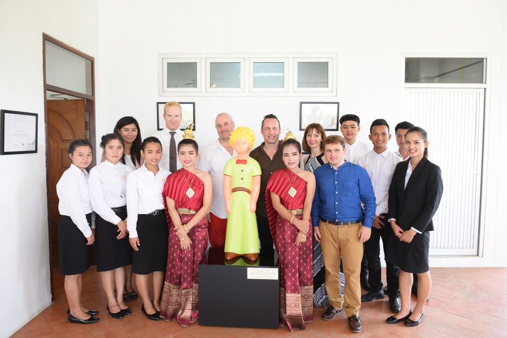 HANDOUT – Mae Sot/Thailand, 27 June, 2016: The unveiling of The Little Prince sculpture donated by French artist Arnaud Nazare-Aga to the Hospitality & Catering Training Centre (HCTC) in Mae Sot in north-west Thailand. (PHOTOPRESS/IWC)